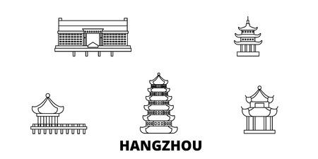 China, Hangzhou line travel skyline set. China, Hangzhou outline city vector panorama, illustration, travel sights, landmarks, streets. Illusztráció
