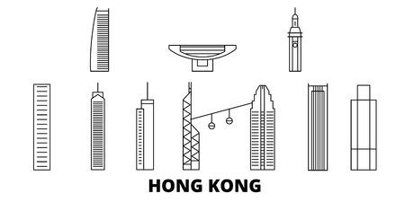China, Hong Kong line travel skyline set. China, Hong Kong outline city vector panorama, illustration, travel sights, landmarks, streets. Reklamní fotografie - 123962690
