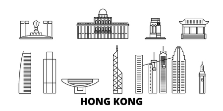 China, Hong Kong City line travel skyline set. China, Hong Kong City outline city vector panorama, illustration, travel sights, landmarks, streets. Reklamní fotografie - 123962691