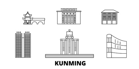 China, Kunming line travel skyline set. China, Kunming outline city vector panorama, illustration, travel sights, landmarks, streets. 일러스트