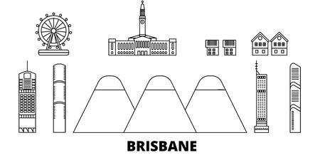 Australia, Brisbane line travel skyline set. Australia, Brisbane outline city vector panorama, illustration, travel sights, landmarks, streets.