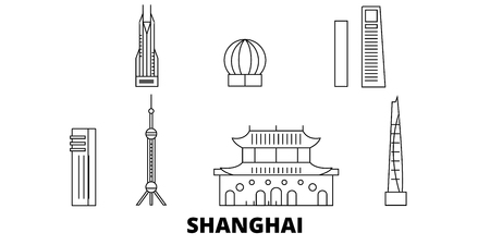 China, Shanghai City line travel skyline set. China, Shanghai City outline city vector panorama, illustration, travel sights, landmarks, streets. Illustration