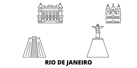 Brazil, Rio De Janeiro line travel skyline set. Brazil, Rio De Janeiro outline city vector panorama, illustration, travel sights, landmarks, streets.