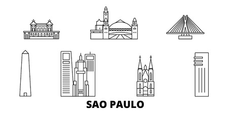 Brazil, Sao Paulo line travel skyline set. Brazil, Sao Paulo outline city vector panorama, illustration, travel sights, landmarks, streets.