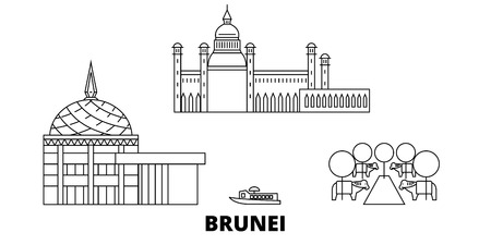 Brunei line travel skyline set. Brunei outline city vector panorama, illustration, travel sights, landmarks, streets. Illustration
