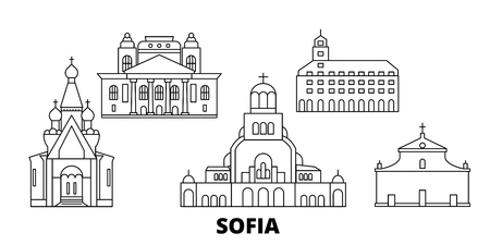 Bulgaria, Sofia line travel skyline set. Bulgaria, Sofia outline city vector panorama, illustration, travel sights, landmarks, streets. Stock Vector - 120563556