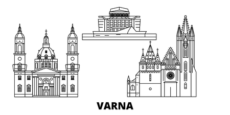 Bulgaria, Varna line travel skyline set. Bulgaria, Varna outline city vector panorama, illustration, travel sights, landmarks, streets. Иллюстрация