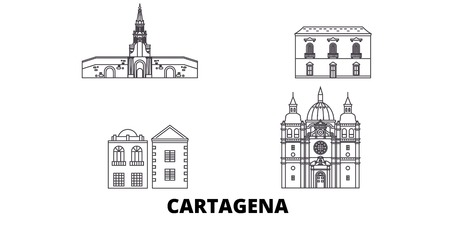 Colombia, Cartagena line travel skyline set. Colombia, Cartagena outline city vector panorama, illustration, travel sights, landmarks, streets.