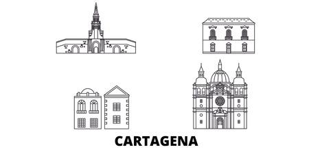 Kolumbien, Cartagena Line Travel Skyline Set. Kolumbien, Cartagena skizzieren Stadtvektorpanorama, Illustration, Reisesehenswürdigkeiten, Sehenswürdigkeiten, Straßen.