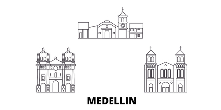 Colombia, Medellin line travel skyline set. Colombia, Medellin outline city vector panorama, illustration, travel sights, landmarks, streets. Reklamní fotografie - 120563559