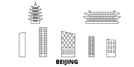 China, Beijing City line travel skyline set. China, Beijing City outline city vector panorama, illustration, travel sights, landmarks, streets. Ilustração