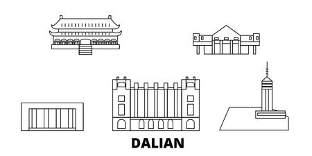 China, Dalian line travel skyline set. China, Dalian outline city vector panorama, illustration, travel sights, landmarks, streets. Ilustrace