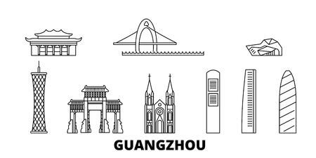 China, Guangzhou line travel skyline set. China, Guangzhou outline city vector panorama, illustration, travel sights, landmarks, streets.
