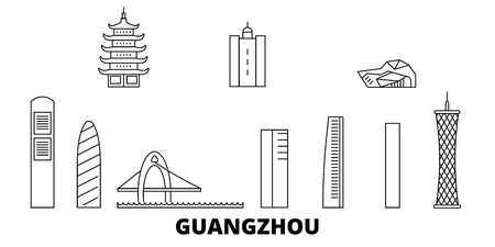 China, Guangzhou City line travel skyline set. China, Guangzhou City outline city vector panorama, illustration, travel sights, landmarks, streets. Reklamní fotografie - 123962695