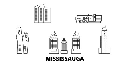 Canada, Mississauga line travel skyline set. Canada, Mississauga outline city vector panorama, illustration, travel sights, landmarks, streets.