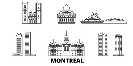 Canada, Montreal line travel skyline set. Canada, Montreal outline city vector panorama, illustration, travel sights, landmarks, streets. Stock Vector - 120308567