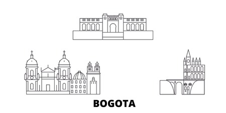 Colombia, Bogota line travel skyline set. Colombia, Bogota outline city vector panorama, illustration, travel sights, landmarks, streets.