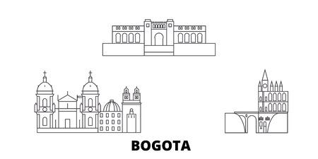 Colombia, Bogota line travel skyline set. Colombia, Bogota outline city vector panorama, illustration, travel sights, landmarks, streets.