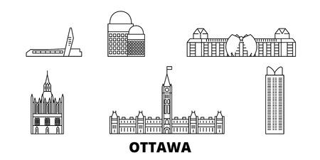 Kanada, Ottawa Line Reisen Skyline Set. Kanada, Ottawa umreißen Stadtvektorpanorama, Illustration, Reisesehenswürdigkeiten, Sehenswürdigkeiten, Straßen.
