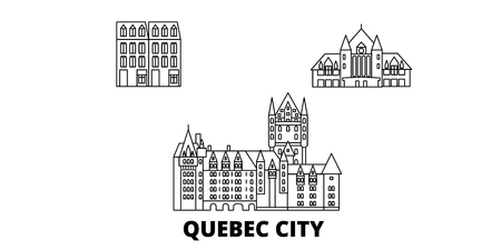 Canada, Quebec City line travel skyline set. Canada, Quebec City outline city vector panorama, illustration, travel sights, landmarks, streets.