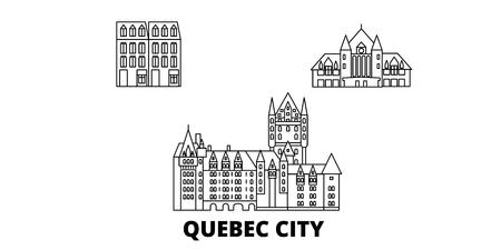 Canada, Quebec City line travel skyline set. Canada, Quebec City outline city vector panorama, illustration, travel sights, landmarks, streets.