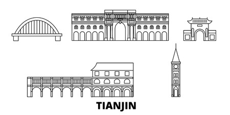 China, Tianjin City line travel skyline set. China, Tianjin City outline city vector panorama, illustration, travel sights, landmarks, streets.