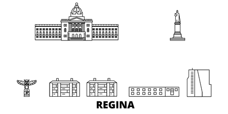Canada, Regina line travel skyline set. Canada, Regina outline city vector panorama, illustration, travel sights, landmarks, streets. Stock Illustratie