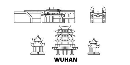 China, Wuhan line travel skyline set. China, Wuhan outline city vector panorama, illustration, travel sights, landmarks, streets. Illustration