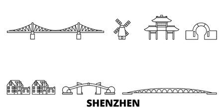 China, Shenzhen line travel skyline set. China, Shenzhen outline city vector panorama, illustration, travel sights, landmarks, streets. Illustration