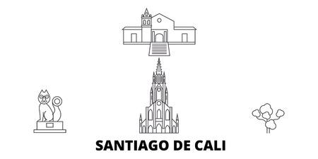 Kolumbien, Santiago De Cali Linie Reise-Skyline-Set. Kolumbien, Santiago De Cali umreißen Stadtvektorpanorama, Illustration, Reiseanblicke, Sehenswürdigkeiten, Straßen.