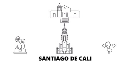 Colombia, Santiago De Cali line travel skyline set. Colombia, Santiago De Cali outline city vector panorama, illustration, travel sights, landmarks, streets. Illustration