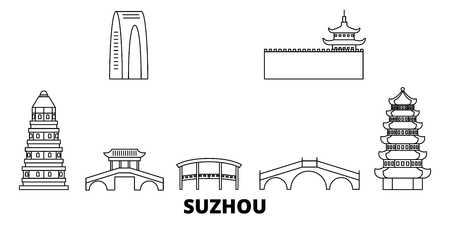 China, Suzhou line travel skyline set. China, Suzhou outline city vector panorama, illustration, travel sights, landmarks, streets.