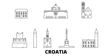 Croatia line travel skyline set. Croatia outline city vector panorama, illustration, travel sights, landmarks, streets. Ilustração