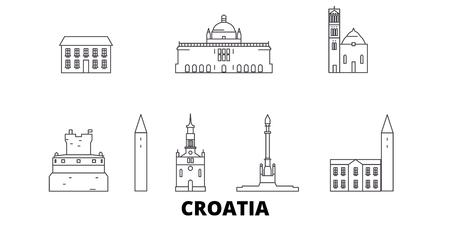 Kroatien Linie Reisen Skyline Set. Kroatien umreißt Stadtvektorpanorama, Illustration, Reisesehenswürdigkeiten, Sehenswürdigkeiten, Straßen.