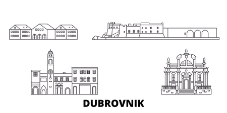 Croatia, Dubrovnik line travel skyline set. Croatia, Dubrovnik outline city vector panorama, illustration, travel sights, landmarks, streets. Imagens - 120563569