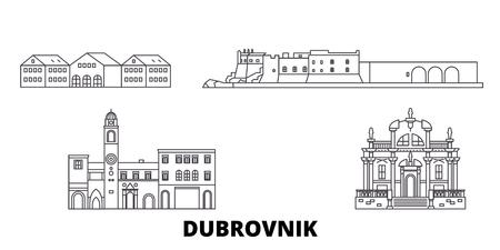 Kroatien, Dubrovnik Linie Reise-Skyline-Set. Kroatien, Dubrovnik umreißen Stadtvektorpanorama, Illustration, Reisesehenswürdigkeiten, Sehenswürdigkeiten, Straßen.
