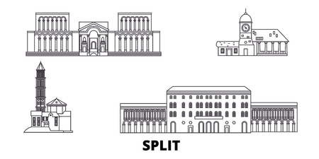 Croatia, Split line travel skyline set. Croatia, Split outline city vector panorama, illustration, travel sights, landmarks, streets.
