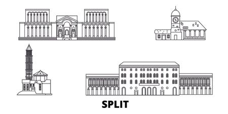 Croatia, Split line travel skyline set. Croatia, Split outline city vector panorama, illustration, travel sights, landmarks, streets.