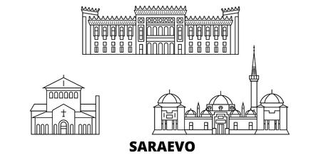 Bosnia And Herzegovina, Saraevo line travel skyline set. Bosnia And Herzegovina, Saraevo outline city vector panorama, illustration, travel sights, landmarks, streets.