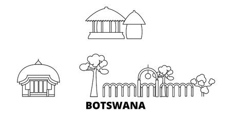 Botswana line travel skyline set. Botswana outline city vector panorama, illustration, travel sights, landmarks, streets.