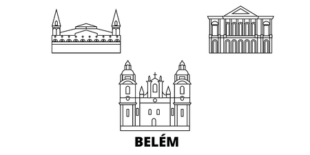 Brazil , Belem line travel skyline set. Brazil , Belem outline city vector panorama, illustration, travel sights, landmarks, streets.