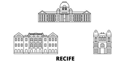 Brazil , Recife line travel skyline set. Brazil , Recife outline city vector panorama, illustration, travel sights, landmarks, streets.
