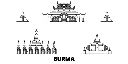 Burma line travel skyline set. Burma outline city vector panorama, illustration, travel sights, landmarks, streets. Stock Illustratie