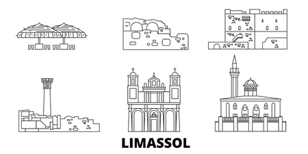 Cyprus, Limassol line travel skyline set. Cyprus, Limassol outline city vector panorama, illustration, travel sights, landmarks, streets.