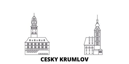 Czech Republic, Cesky Krumlov line travel skyline set. Czech Republic, Cesky Krumlov outline city vector panorama, illustration, travel sights, landmarks, streets.
