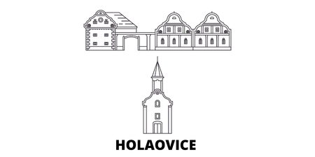 Czech Republic, Holasovice line travel skyline set. Czech Republic, Holasovice outline city vector panorama, illustration, travel sights, landmarks, streets. Иллюстрация