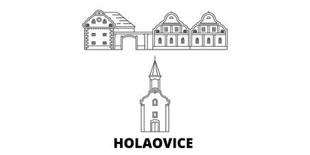 Czech Republic, Holasovice line travel skyline set. Czech Republic, Holasovice outline city vector panorama, illustration, travel sights, landmarks, streets. Illustration