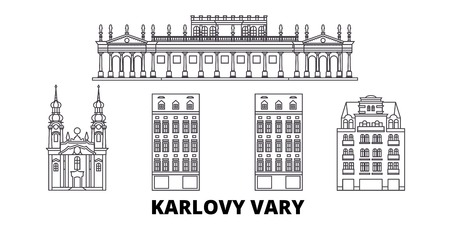 Czech Republic, Karlovy Vary line travel skyline set. Czech Republic, Karlovy Vary outline city vector panorama, illustration, travel sights, landmarks, streets.