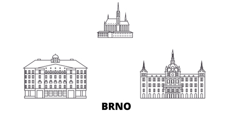 Czech Republic, Brno line travel skyline set. Czech Republic, Brno outline city vector panorama, illustration, travel sights, landmarks, streets.