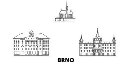 Czech Republic, Brno line travel skyline set. Czech Republic, Brno outline city vector panorama, illustration, travel sights, landmarks, streets.